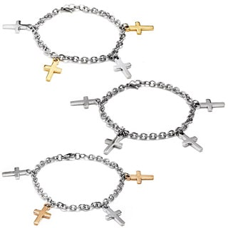 ELYA Two-tone Stainless Steel Dangling Cross Charm Bracelet