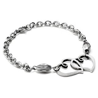 ELYA Stainless Steel Double Interlocking Heart Bracelet