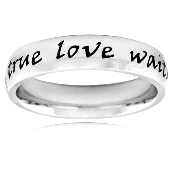 ELYA Stainless Steel 'True Love Waits' Script Ring