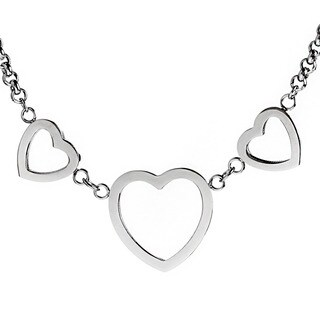 ELYA Stainless Steel Triple Heart Charm Necklace - Silver