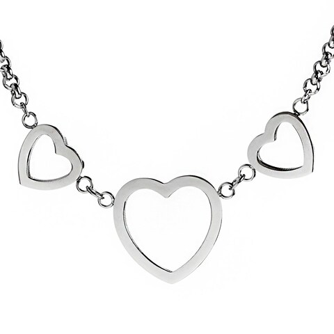 ELYA Stainless Steel Triple Heart Charm Necklace - Silver
