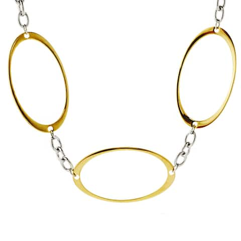 ELYA Two-tone Steel Oval Cutout Link Necklace - Silver