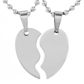 Stainless Steel 2-piece Split Heart Necklace