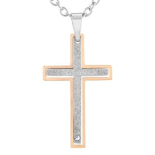 Two-tone Stainless Steel Cubic Zirconia 2-piece Layered Cross Necklace