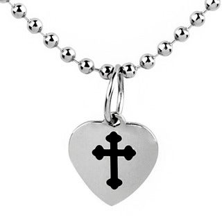 Stainless Steel Cross Engraved Heart Charm Necklace