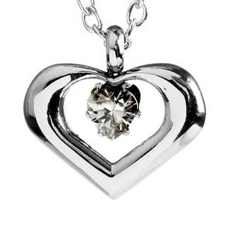 Stainless Steel Open Heart Cubic Zirconia Necklace