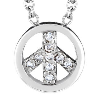 ELYA Stainless Steel Cubic Zirconia Peace Charm Necklace