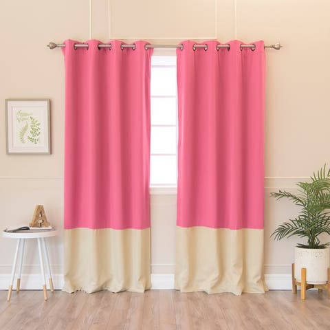 Aurora Home Solid Thermal Insulated Color Block Blackout 84-inch Curtain Panel Pair - 52 x 84 - 52 x 84