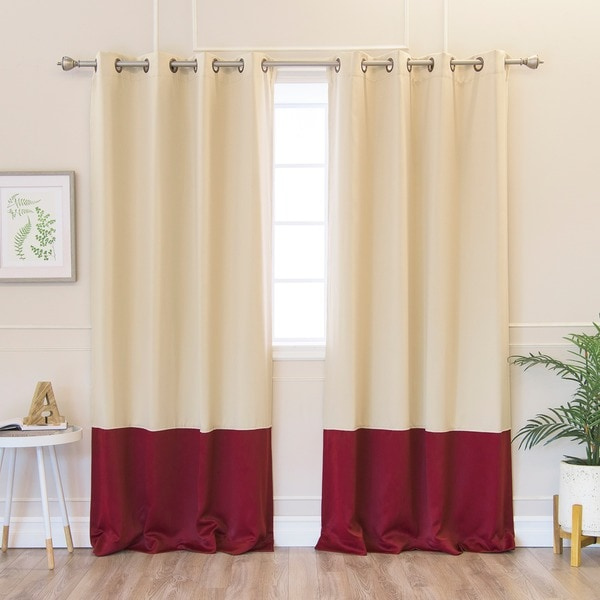 Aurora Home Solid Thermal Insulated Color Block Blackout 84 Inch Curtain Panel Pair 52