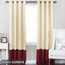 Aurora Home Solid Thermal Insulated Color Block Blackout 84-inch Curtain Panel Pair