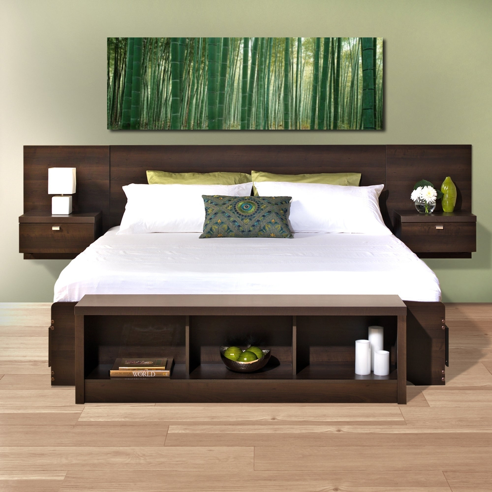nightstands full with size floating king headboard
