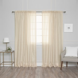 Aurora Home Venice Sheer Damask Rod Pocket 84-inch Curtain Panel Pair