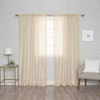 Aurora Home Venice Sheer Damask Rod Pocket 84-inch Curtain Panel Pair - 54 x 84|https://ak1.ostkcdn.com/images/products/8202117/P15535808.jpg?impolicy=medium