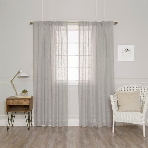 Aurora Home Branch Pattern Sheer Burnout Rod Pocket Curtain Pair - 54 x 84 - 54 x 84