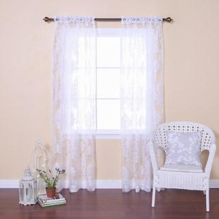 Aurora Home Damask Burnout Sheer Rod Pocket 84-inch Curtain Panel Pair