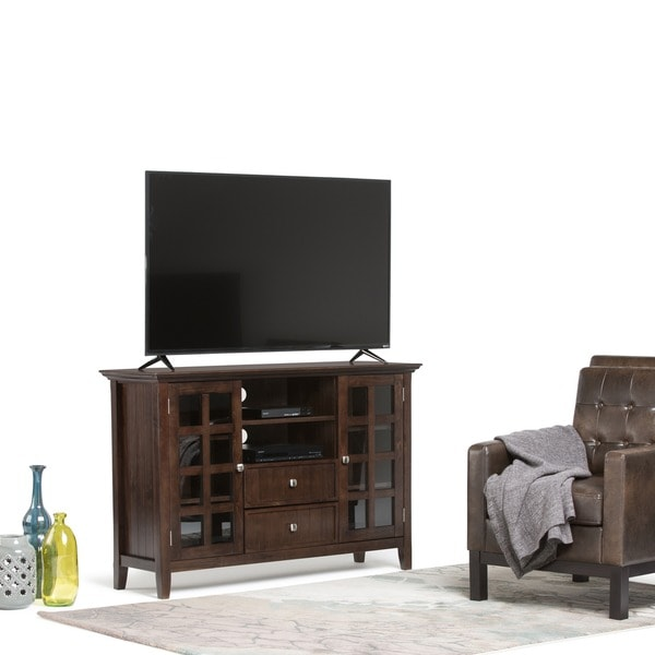 WYNDENHALL Normandy Collection Tobacco Brown Tall TV Media Stand for TV's up to 60 Inches