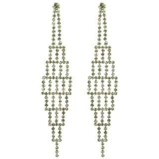 Kate Marie Silvertone White Rhinestone Fashion Earrings