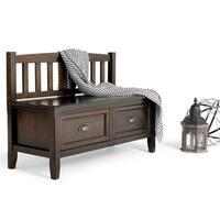 WYNDENHALL Portland Espresso Brown Entryway 2-drawer Storage Bench
