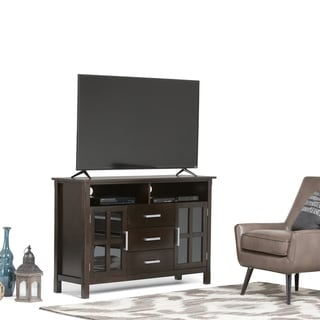 WYNDENHALL Waterloo Solid Wood 53 inch Wide Contemporary TV Media Stand in Dark Walnut Brown  For TVs up to 55 inches