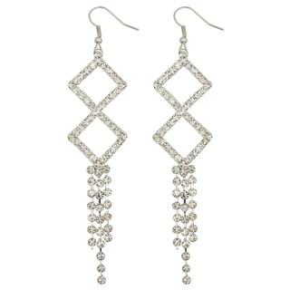 Kate Marie Silvertone Rhinestone Twin Square Fashion Earrings