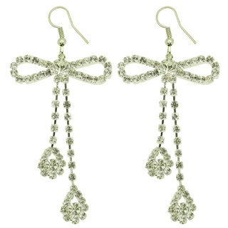 Kate Marie Silvertone Rhinestone 'Office Lady' Earrings