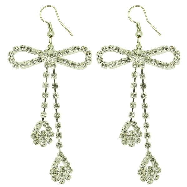 Kate Marie Silvertone Rhinestone 'Office Lady' Earrings