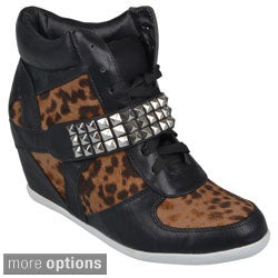 Journee Collection Womens Laceup High Top Wedge Sneaker