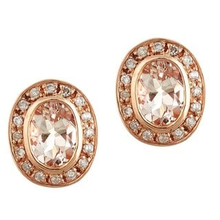 D'Yach 10k Rose Gold Morganite and 1/5ct TDW Diamond Stud Earrings (G-H, I1-I2)