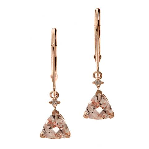Anika and August 10k Rose Gold Trillion-cut Morganite and Diamond Accent Earrings