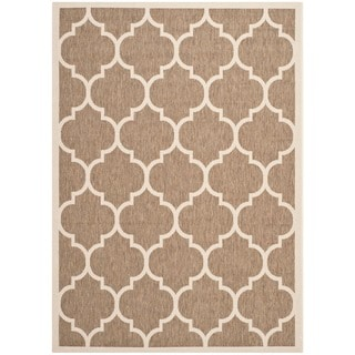 Safavieh Machine-made Indoor/ Outdoor Courtyard Brown/ Bone Rug (5'3 x 7'7)