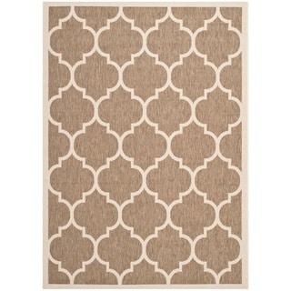 Safavieh Courtyard Moroccan Pattern Brown/ Bone Indoor/ Outdoor Rug (5'3 x 7'7)