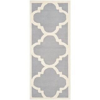 Safavieh Handmade Moroccan Cambridge Silver/ Ivory Wool Rug (2'6 x 14')