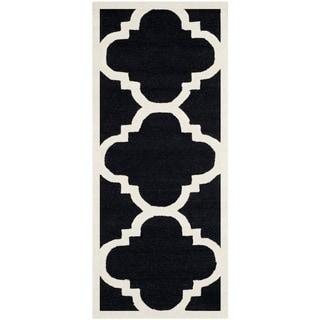 Safavieh Handmade Moroccan Cambridge Black/ Ivory Wool Rug (2'6 x 6')