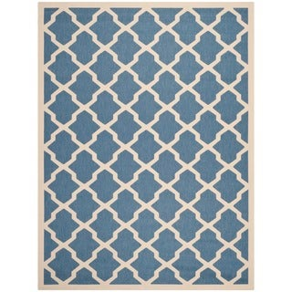 """Safavieh Courtyard Moroccan Trellis Blue/ Beige Indoor/ Outdoor Rug (5'3"""" x 7'7"""")"""