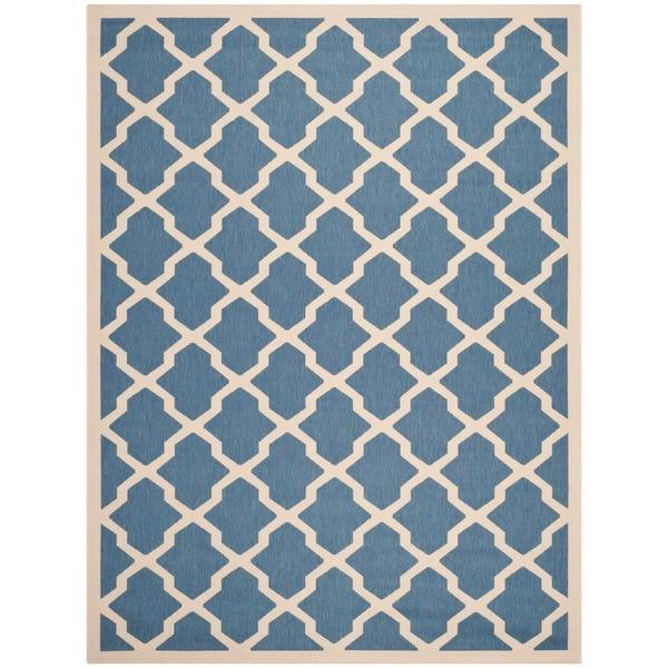 Safavieh Courtyard Moroccan Trellis Blue/ Beige Indoor/ Outdoor Rug - 8' x 11'