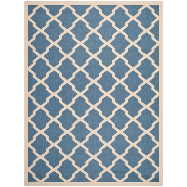 Safavieh Courtyard Moroccan Trellis Blue/ Beige Indoor/ Outdoor Rug - 9' x 12'