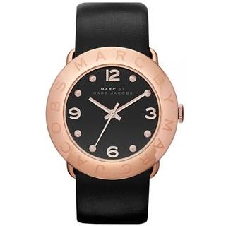 Marc Jacobs Women's 'Amy' Black/ Rose Goldtone Watch