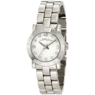 Marc Jacobs Women's 'Amy' Crystal Silver Stainless Steel Watch