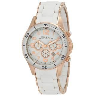 Marc Jacobs Women's White/ Rose Goldtone Chronograph Watch|https://ak1.ostkcdn.com/images/products/8202416/Marc-Jacobs-Womens-White-Rose-Goldtone-Chronograph-Watch-P15536156.jpg?impolicy=medium