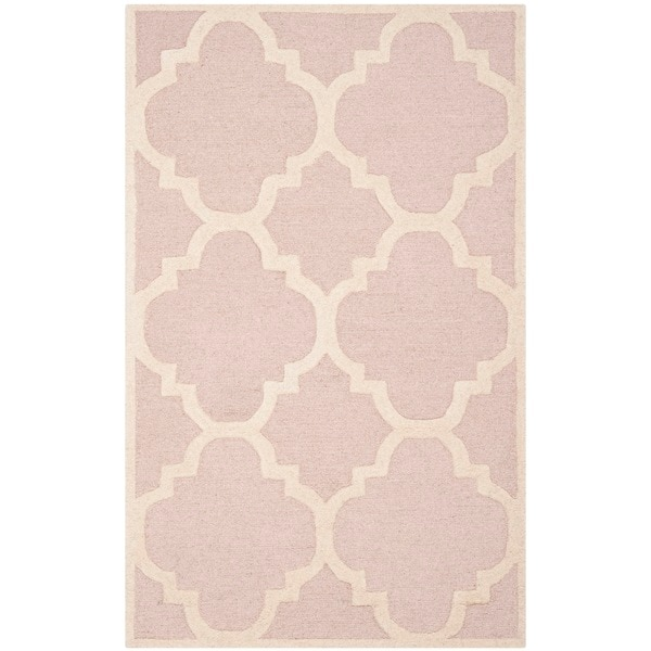 Nuloom Handmade Dotted Trellis Wool Kids Nursery Baby Pink: Safavieh Handmade Moroccan Cambridge Light Pink/ Ivory