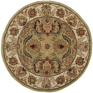 Safavieh Hand-made Classic Green/ Ivory Wool Rug (3'6 Round)