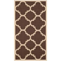 Safavieh Courtyard Quatrefoil Dark Brown Indoor/ Outdoor Rug - 2' x 3'7