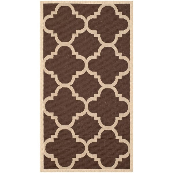 Safavieh Courtyard Quatrefoil Dark Brown Indoor Outdoor