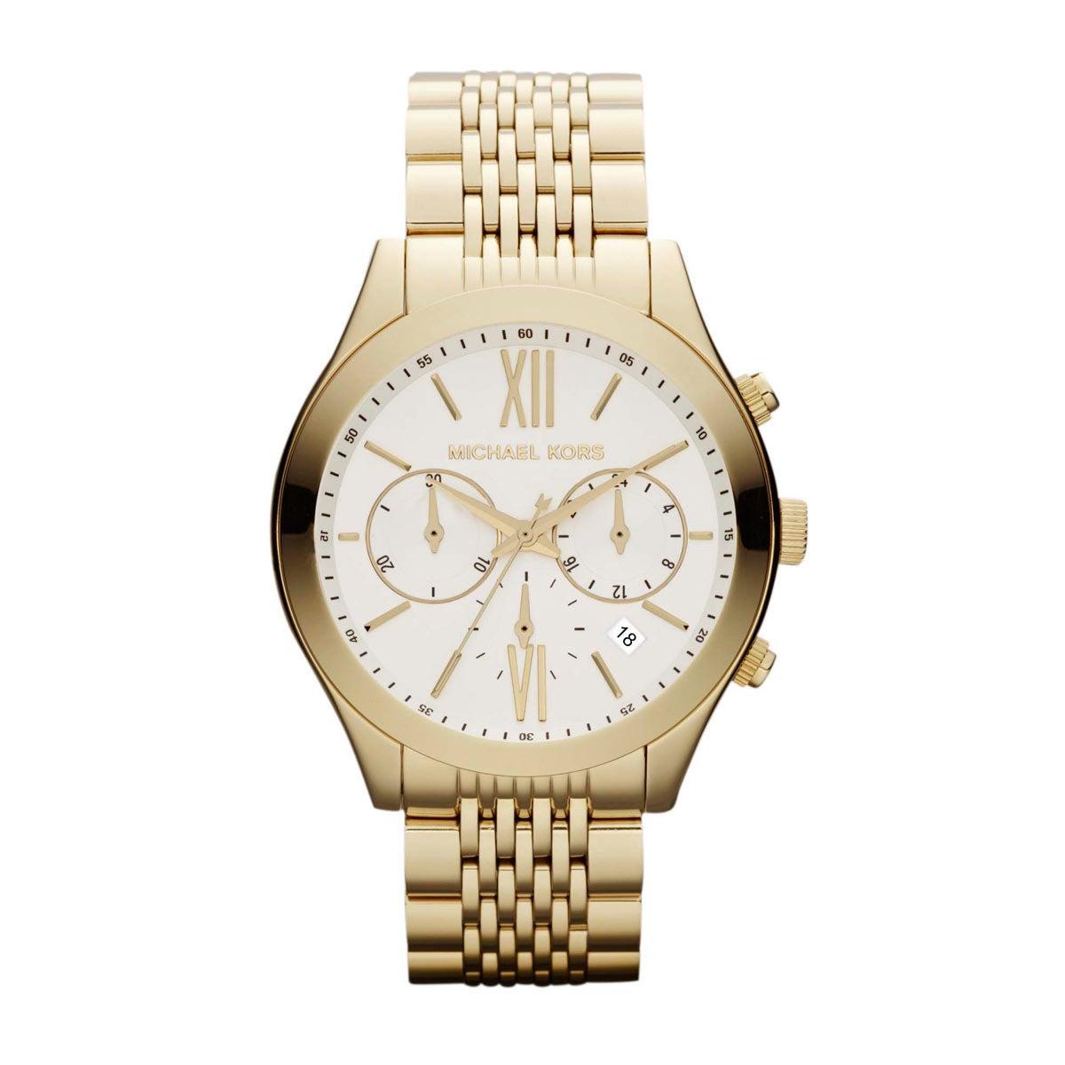 Michael Kors Womens MK5762  Bookton Goldtone Chronograph Watch - Gold/White White