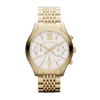 Michael Kors Women's 'Bookton' Goldtone Chronograph Watch - WHITE/GOLD