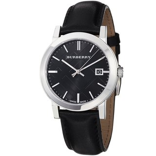 Burberry Women's 'City' Black Dial Leather Strap Watch