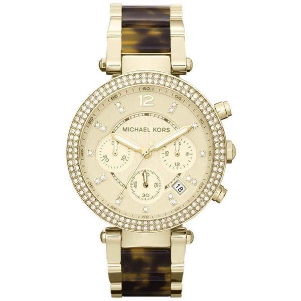 b5adc2a44780 Michael Kors Women  x27 s MK5688 Parker Goldtone Tortoise Glitz Watch