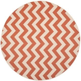 Safavieh Courtyard Chevron Terracotta/ Beige Indoor/ Outdoor Rug (7'10 Round)
