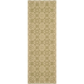 Safavieh Courtyard Elegance Green/ Cream Indoor/ Outdoor Rug (2'3 x 6'7)