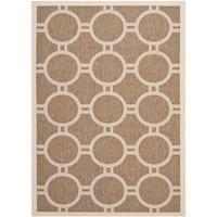 Safavieh Indoor/ Outdoor Courtyard Circle Pattern Brown/ Bone Rug - 8' X 11'
